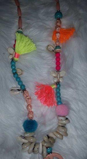 Ibiza Kette Hippie Peace Muschel Bommel Zara blogger hipster boho NEU rosa mint