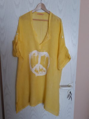 Robe tunique jaune lin