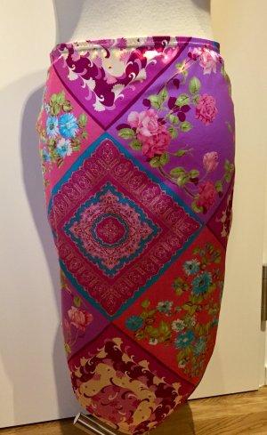 Ibiza-Mode: Raffinierter Satinrock Pink Blumen Gr. M neu
