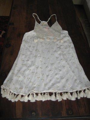 Vestido Hippie blanco puro-color oro