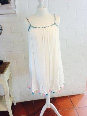 Ibiza Style Beach Look Kleid S 36 neu weiß mit Bommeln