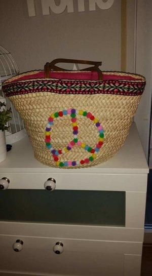 Ibiza Tasche Korbtasche Korb DIY Peace Pom Pom PomPoms Reißverschluss TOP