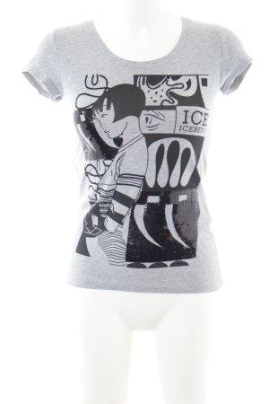 Iceberg Print-Shirt hellgrau Motivdruck Casual-Look