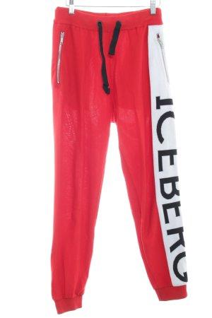 Iceberg Pantalón tipo suéter rojo-blanco estilo deportivo