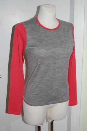 Icebreaker Sports Shirt silver-colored-bright red merino wool
