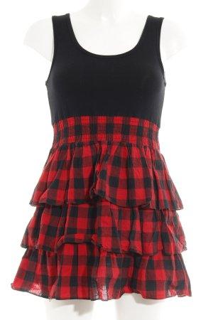 Ichi A-Linien Kleid schwarz-rot Karomuster Retro-Look