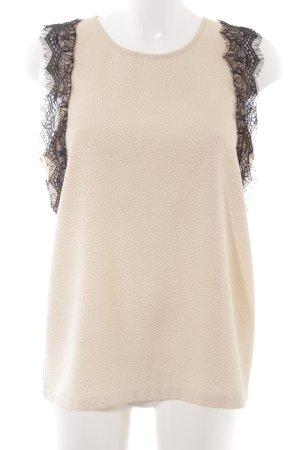 Ichi ärmellose Bluse beige-schwarz Romantik-Look