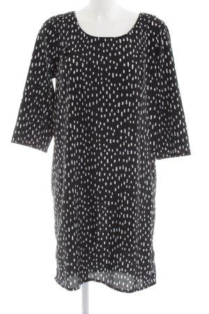 Ichi Blusenkleid schwarz-weiß Allover-Druck Casual-Look