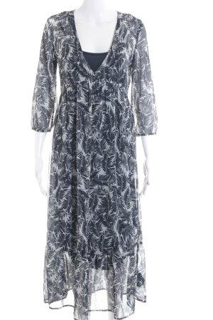 Ichi Blusenkleid weiß-dunkelblau Allover-Druck Elegant
