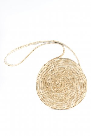 Ichi Bolso tipo cesta marrón arena Patrón de tejido look casual