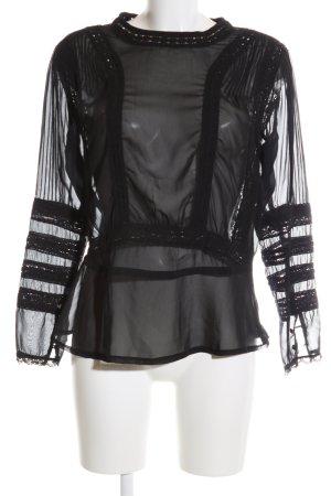 Ichi Langarm-Bluse schwarz extravaganter Stil
