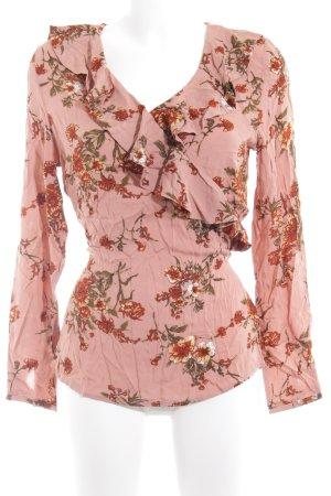Ichi Langarm-Bluse altrosa Blumenmuster Casual-Look
