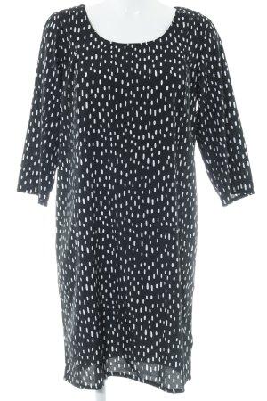 Ichi Langarmkleid schwarz-weiß Punktemuster Elegant