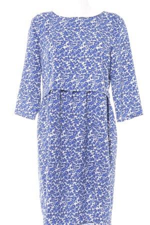 Ichi Langarmkleid weiß-blau Blumenmuster Casual-Look