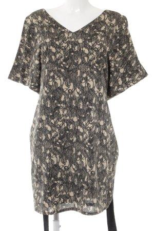 Ichi Minikleid schwarz-creme abstraktes Muster Elegant