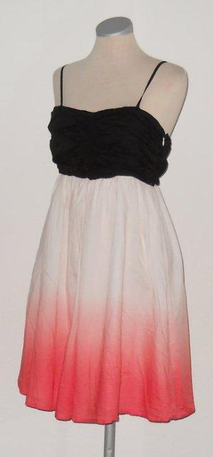 ICHI Ombre Look Kleid knielang kurz schwarz weiß koralle apricot Gr. M 38 Träger