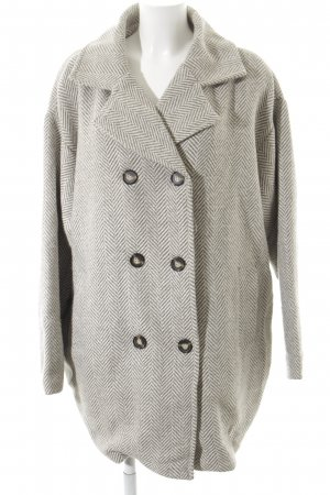 Ichi Oversized Coat natural white-sage green zigzag pattern casual look