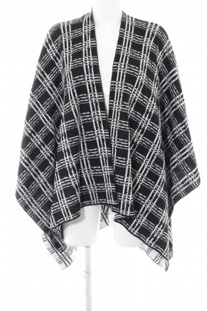 Ichi Poncho white-black check pattern casual look
