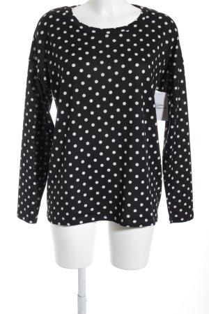 Ichi Rundhalspullover schwarz-weiß Punktemuster Casual-Look