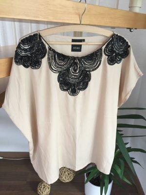 ICHI Shirt Blusenshirt kurze Bluse Tunika nude rosé Pailletten bestickt schwarz Gr. S edel Stickerei gemustert