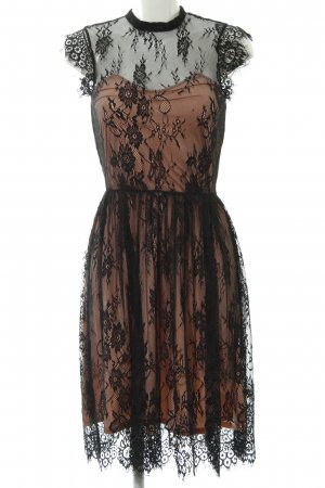 Ichi Spitzenkleid apricot-schwarz florales Muster Casual-Look