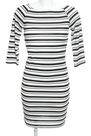 Ichi Stretchkleid schwarz-weiß Streifenmuster Casual-Look