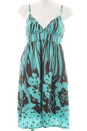 Ichi Trägerkleid türkis-schwarzbraun florales Muster extravaganter Stil