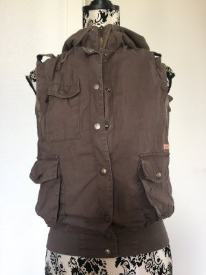 Ichi Hooded Vest grey brown