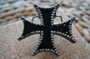 Boucle de ceinture noir-argenté métal
