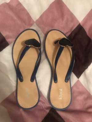 Ideal High-Heeled Toe-Post Sandals blue