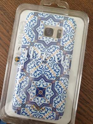 Étui pour téléphone portable blanc-bleu