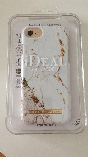 Étui pour téléphone portable blanc-doré
