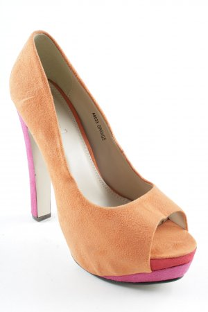 Ideal Plateau-Pumps dunkelorange-neonrot Party-Look