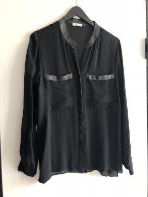 Iheart Seidenbluse Transparent mit Leder schwarz