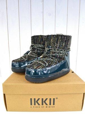 IKKII Damen Boots Mod.Chain Low Blue Petrol Lammfell Lack Gefüttert Gr.38/39