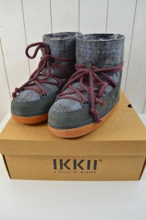 IKKII Damen Boots Mod. Classic Low Scottish Pattern Grey Grau Gefüttert 38/39