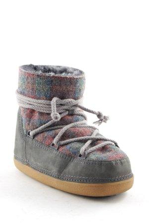 Ikkii Bottes de neige gris motif à carreaux style athlétique