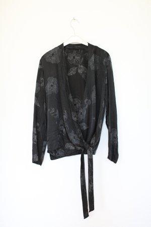 Ikks Bluse Seidenbluse Silk schwarz Blumen Vintage Look Gr. S-M