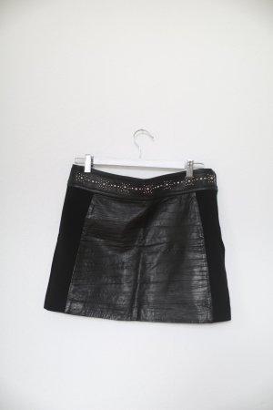 Ikks Lederrock Skirt Mini Leder mit Nieten Western Look Echtes Leder Gr. M