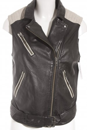 Ikks Leather Vest black-oatmeal biker look