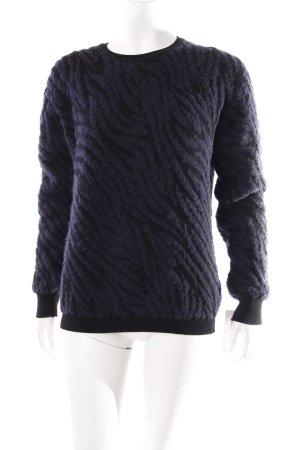 Ikks Rundhalspullover dunkelblau-schwarz abstraktes Muster schlichter Stil