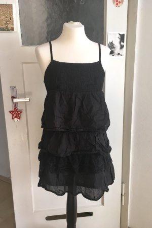 IKKS schwarzes Kleid Rüschenkleid Volant Frühling
