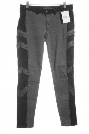 Ikks Skinny Jeans grau-schwarz grafisches Muster Casual-Look