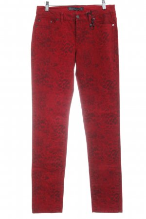 Ikks Slim Jeans dunkelrot-dunkelgrau Leomuster Casual-Look