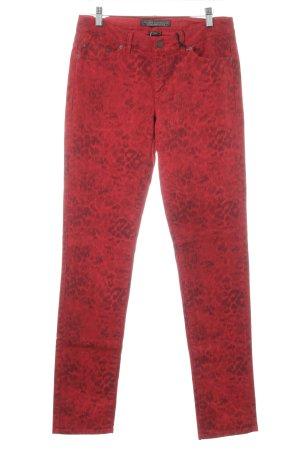 Ikks Slim Jeans dunkelrot-schwarz Leomuster extravaganter Stil