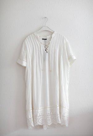 Ikks Sommerkleid Kleid Weiß Nude Spitze Gr. 38 Neu mit Etikett Vintage Stil