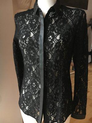 IKKS Spitzenbluse mit Fakelederkragen schwarz festliche Bluse