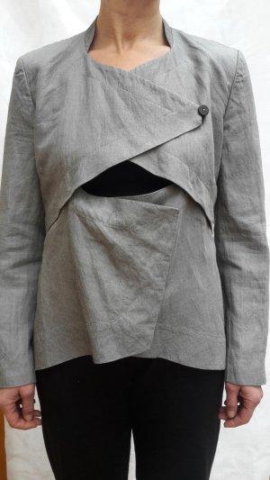 Ilaria Nistri Blazer/Bolero (unterer Teil abknöpfbar) Leinen meliertes Grau elegant