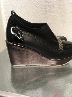 Scarpa slip-on nero-marrone chiaro Fibra tessile