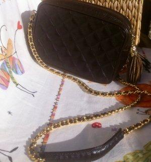 Mini Bag dark brown-gold-colored leather
